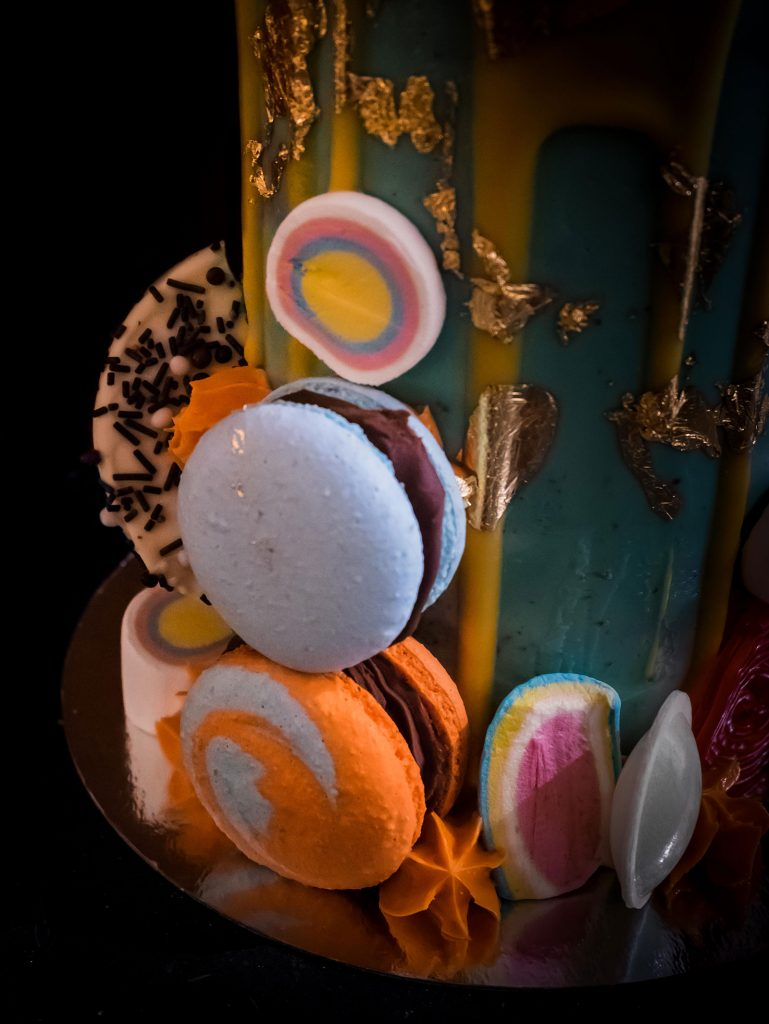 birthday candy cake detail
