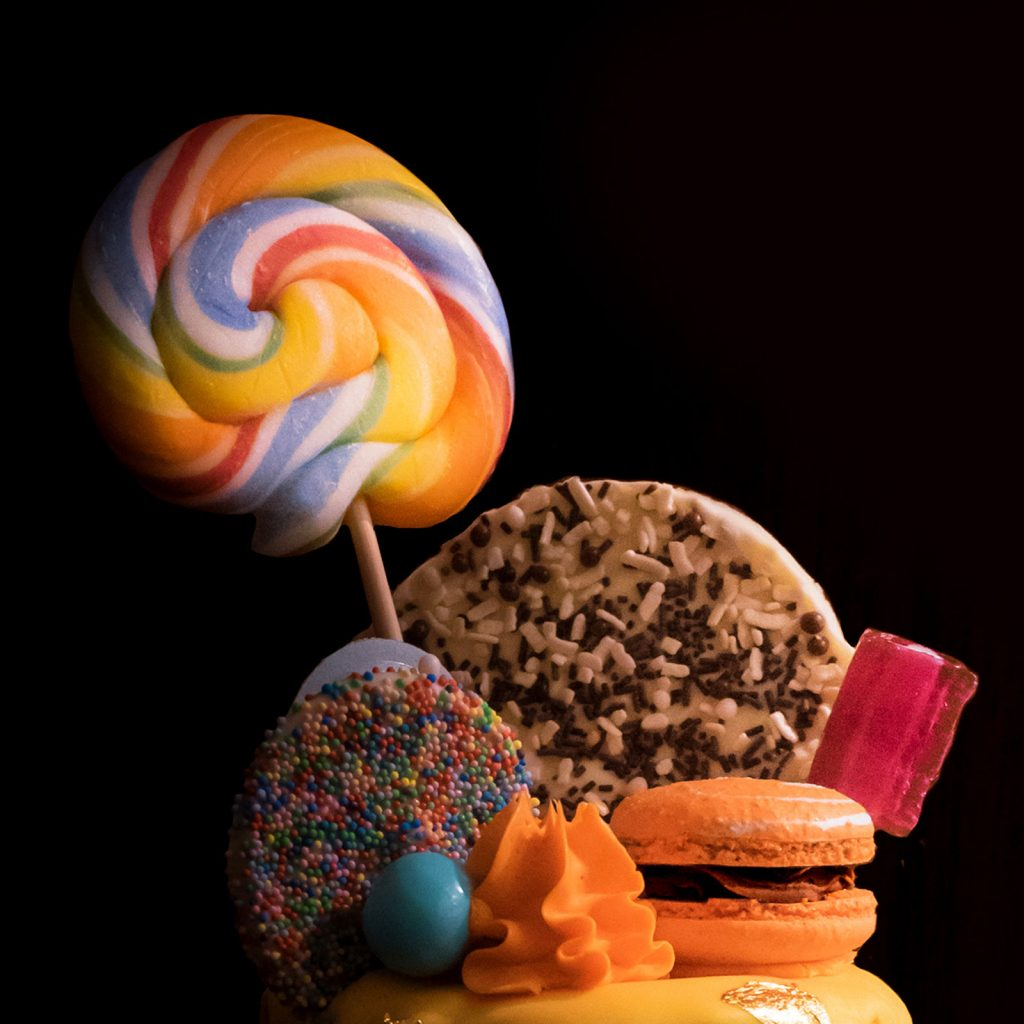 candy cake with lollypops
