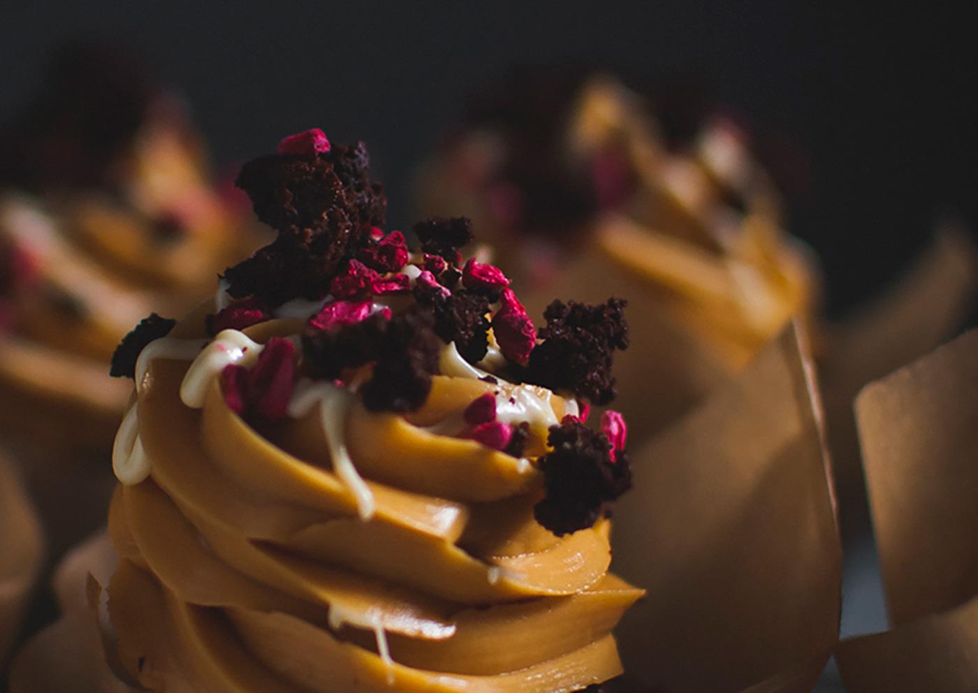Chocolate dulce de leech cupcakes crumb detail