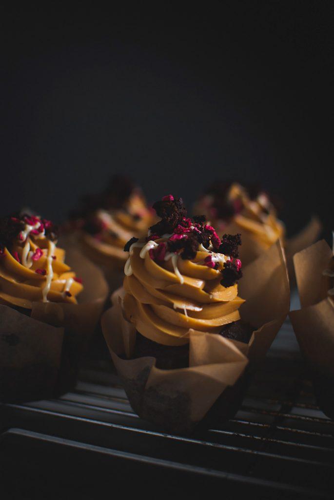 Chocolate dulce de leech cupcakes tray full