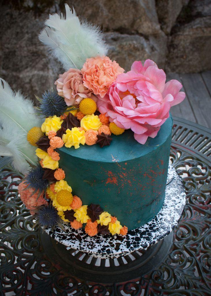 Chocolate lemon easter cake flowers 2017