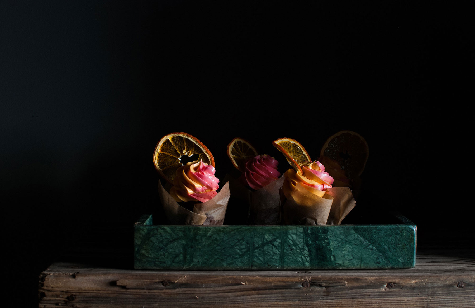 Chocolate orange cupcakes green marble